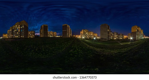 full seamless spherical hdri night panorama 360 degrees angle view light in windows of multistory building area of urban development residential quarter in equirectangular projection, AR VR content