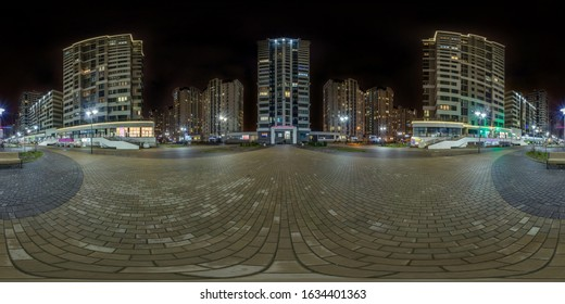 full seamless spherical hdri night panorama 360 near skyscraper multistory buildings of residential quarter with light in windows in equirectangular projection