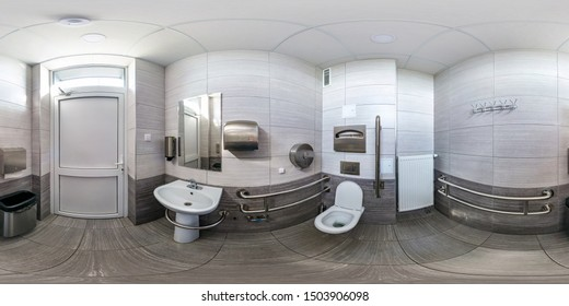 full seamless spherical hdri panorama 360 degrees angle view in interior wc restroom in modern public toilet for people with disabilities in equirectangular projection