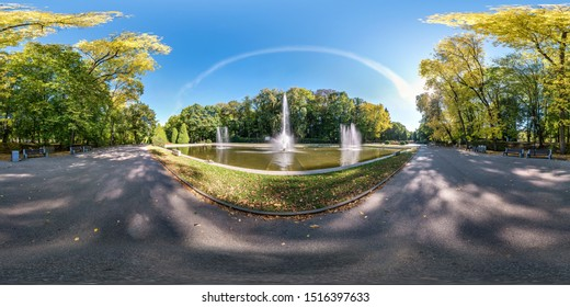 full seamless spherical hdri panorama 360 degrees angle view of early autumn in empty city park near fountain equirectangular spherical projection with zenith and nadir. for VR content