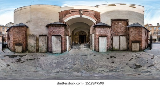 full seamless spherical hdri panorama 360 degrees angle view near entrance in of old Armenian church  in equirectangular projection with zenith and nadir. VR  AR content
