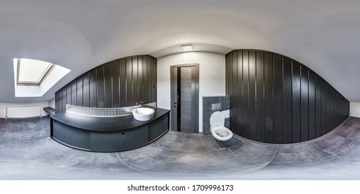full seamless spherical hdri panorama 360 degrees angle view in interior wc restroom in modern public toilet in equirectangular projection