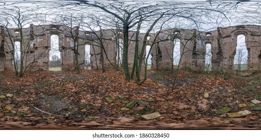 Full seamless spherical hdri panorama 360 degrees inside ancient abandoned stone ruined building of church with bushes and trees inside without roof in equirectangular projection. VR AR content