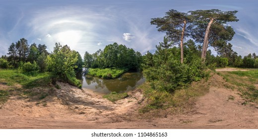 full seamless spherical panorama 360 by 180 angle view on the shore of small river in sunny summer day in equirectangular projection, skybox VR virtual reality content