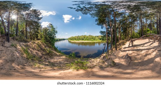 full seamless spherical panorama 360 by 180 angle view on the precipice of a wide river in sunny summer day in equirectangular projection, skybox AR VR virtual reality content