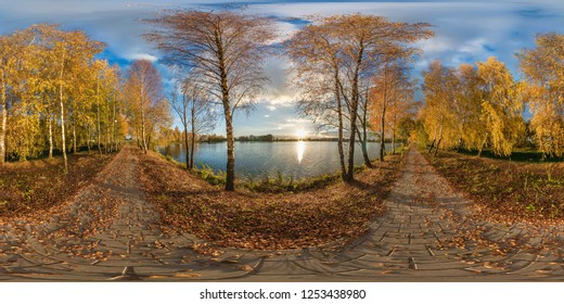 full seamless spherical panorama 360 degrees angle view golden autumn near the shore of wide lake in sunny day. 360 panorama in equirectangular projection, ready VR AR virtual reality content