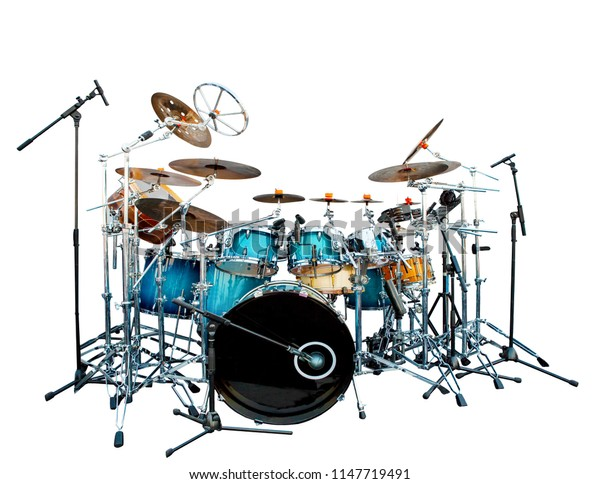 full set of acoustic drum instrument isolate white background