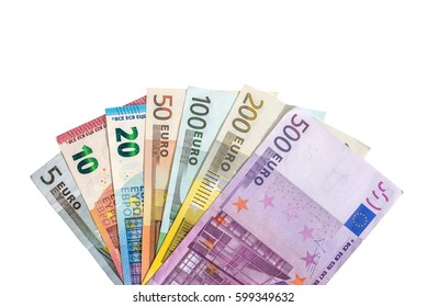 full set of banknotes of euro isolated on white. Place for text.