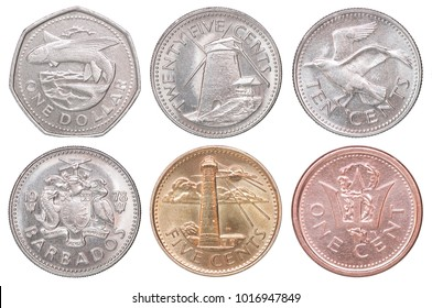 Full set of Barbadian coins isolated on white background
