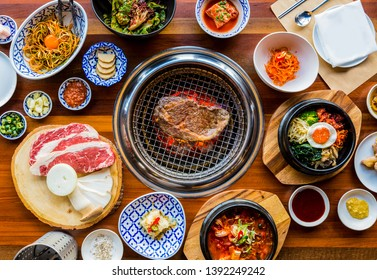 Full set of beef and pork ready for grill on stove serve with vegetable,soup and rice and side dish, Korean style barbecue