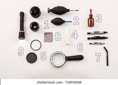 Full set cleaner for digital camera lens: isopropyl alcohol, clean, sensor cleaner, glasses clean, optic, cleaner pen, fullset for sensors cleaner, loupe, magnifying glass with a backlight, air pear.