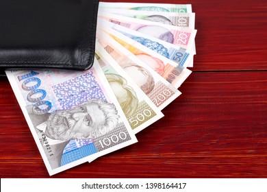 Full set of Croatian Kuna in the black wallet