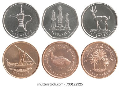 Full set of Emirate coins isolated on white background