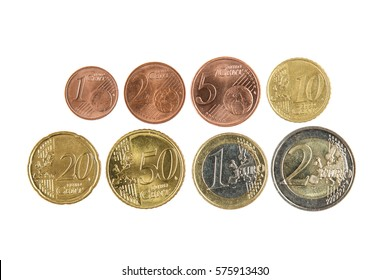Full set of euro coins isolated on white background
