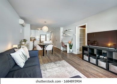 Full set of interior furnished apartment in modern condominium with patio, balcony, terrace in Montreal, Quebec, Canada