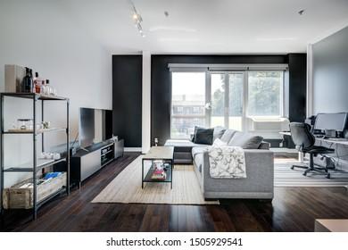 Full set for modern Canadian condominium in Montreal, interior