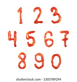 Full set of numbers made of the cooking food sauce smeared over the surface, composition isolated over the white background