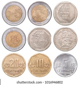 Full set of Peruvian coins isolated on white background