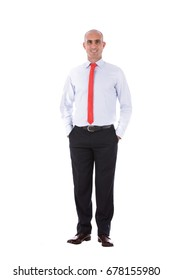 Full shot portrait of a mature bald man smiling and standing confidently, guy wearing white shirt and red tie , isolated on white background