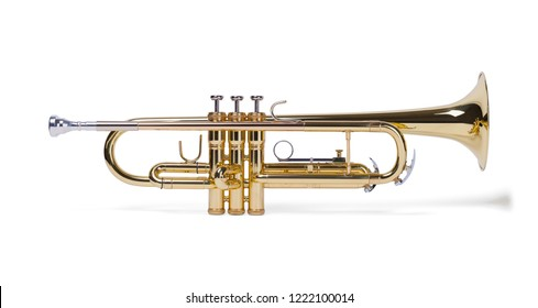 Full Side View of Brass Trumpet Isolated on White Background.