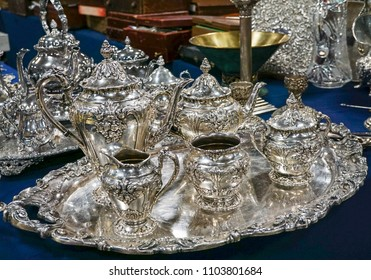 A full silver tea set with tray