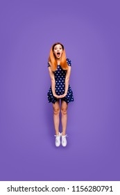 Full size body length vertical photo studio portrait jump shot of glad cheerful joyful nice lovely lady jumping up wearing trendy outfit isolated bright vivid color pastel background