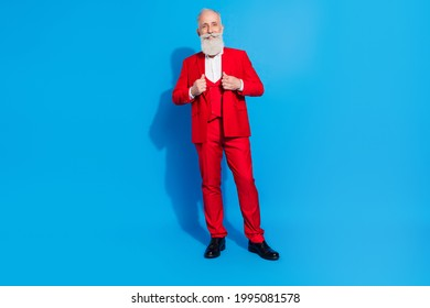 Full size photo of aged business man happy positive smile millionaire wealthy isolated over blue color background