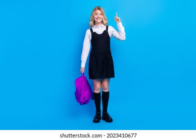 Full size photo of cheerful young happy positive small girl hold point finer idea isolated on blue color background
