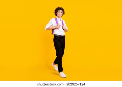 Full size photo of cute little brunet boy go wear bag uniform shoes isolated on yellow background - Shutterstock ID 2020267124