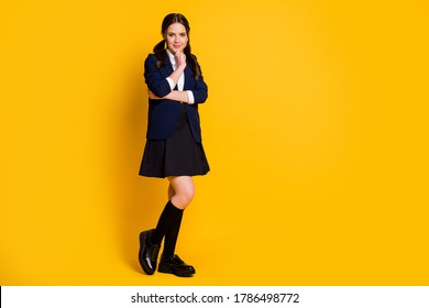 Full size photo of smart clever teacher girl touch hands chin ready learn new courses knowledge wear good look uniform isolated over bright color background