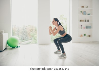 Full size profile side photo of joyful agility lover girl doing sport yoga exercises sit squats practicing pilates aerobics wear modern pants sneakers in house like fitness studio