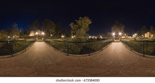 Full spherical 360 by 180 degrees seamless panorama in equirectangular equidistant projection, panorama of night park