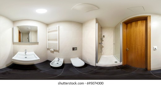 Full spherical 360 by 180 degrees seamless panorama in equirectangular equidistant projection, panorama in interior empty bathroom in modern flat apartments, VR content