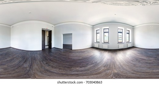 Full spherical 360 by 180 degrees seamless panorama in equirectangular equidistant projection, panorama in interior of empty loft room. VR content