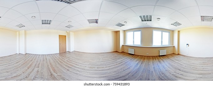 Full spherical 360 by 180 degrees seamless panorama in equirectangular equidistant projection, panorama in interior empty room in modern flat apartments