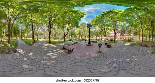 Full spherical 360 degrees seamless panorama in equirectangular equidistant projection, panorama 360 angle view in park green zone, skybox for VR AR content