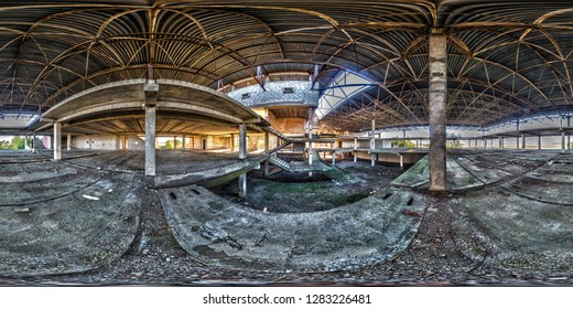 Full spherical seamless hdri panorama 360 degrees angle view concrete structures stairs abandoned unfinished building of airport. 360 panorama in equirectangular equidistant projection, VR AR content