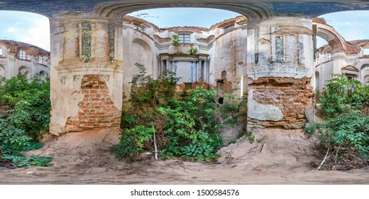 Full spherical seamless hdri panorama 360 degrees angle view inside of concrete structures of abandoned ruined building of church with bushes and trees inside in equirectangular projection, VR content