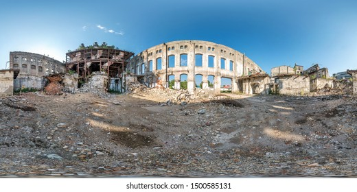 Full spherical seamless hdri panorama 360 degrees angle view concrete structures of abandoned ruined building of cement factory in equirectangular projection, VR AR content