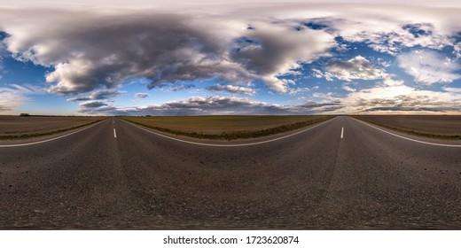 파노라마 360, 석양 전 야간의 아스팔트 도로