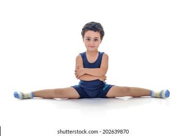 Full Split Boy Isolated on White Background