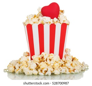 Full square box of popcorn with a red heart isolated on white background
