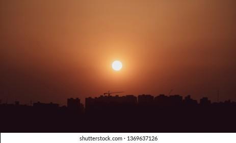 Full sun with sunset sky, sunset today and sunset tonight