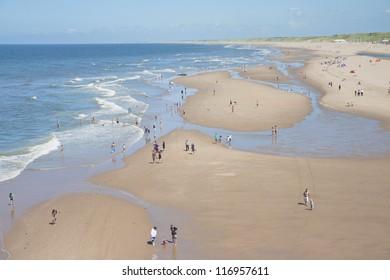 Full sunny beach in Holland