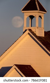 Full Super Moon over Country Church Canada