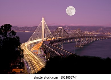 Full, Super Moon and San Francisco New Bay Bridge at Night