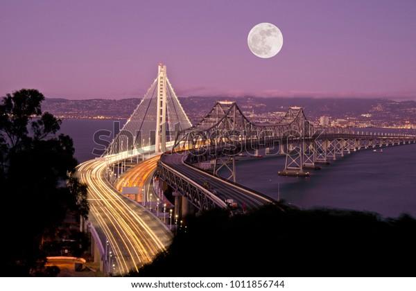 Full, Super Moon and San Francisco New Bay Bridge at Night