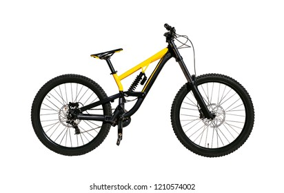 Full suspension bicycle with shock absorber and disc brakes for downhill and cross-country riding. Extreme bike isolated on white background