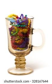 Full transparent glass of melange yarn on white background