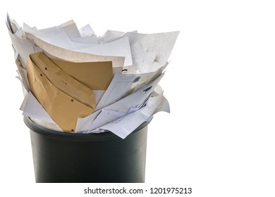 Full trash in front of white background